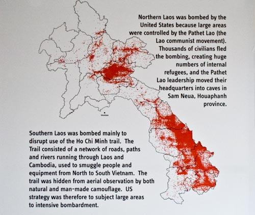 Les bombardements au Laos, Phonsavan situee au Nord
